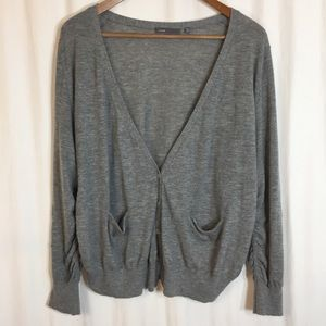 Vince Gray 100% Cashmere Cardigan with Ruched Side